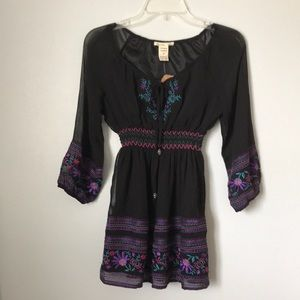 Black smocked boho chiffon blouse top
